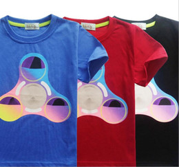 Wholesale Girls Summer Christmas Clothes - Boys girls fidget triangle Spinner T shirt 3 Color New Children cartoon cotton Short sleeve T-shirt baby kids clothes