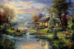 Wholesale Oil Canvas Flower - Hot Sell Mountain Paradise Thomas Kinkade Oil Paintings Art High Quality Giclee Print On Canvas Bird flower picture Decor Home Decoration