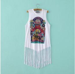 Wholesale Casual Gothic Style - Wholesale- Fringed Sleeveless T Shirt Women 2016 Summer Cult Rock Punk Gothic Graphic Camisole Vest Sleeveless Shirt Swag Style Des Femmes