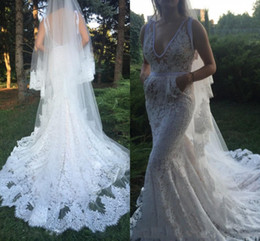 Wholesale Organza Veils - Sexy Lace Wedding Dresses With Pocket Deep V Neck Backless Trumpet Long Beach Bridal Dress Without Veil Mermaid Wedding Gowns Backless