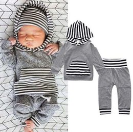 Wholesale Newborn Boy Pants Cotton - 2pcs Newborn Infant Baby Boy Girls Clothes Hooded T-shirt Tops+Pants Outfits Set