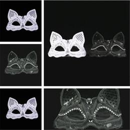 Wholesale White Animal Masks - New Black White costume ball mask Sexy lace mask Animal Fox mask evening party Supplies IA648