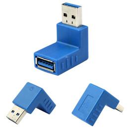 Adaptador hembra usb de ángulo recto online-10 unids / lote Universal USB 3.0 Tipo A Macho a Hembra Enchufe 90 Grados Conector de Adaptador de Ángulo Recto de Alta calidad Azul