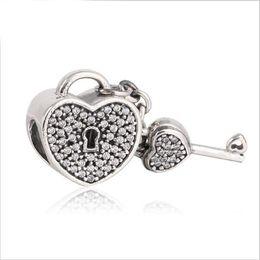 Wholesale Chamilia Heart Charm - 925 sterling silver pave cz european heart key bead Compatible with pandora Most Charm Bracelets Such Chamilia, Troll, Biagi