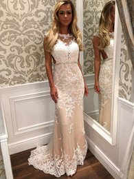 Wholesale Sexy Different Dresses - 2018 Sheath Column Open Back Tulle Sweep Train Appliques Lace Different Prom Dress 2017
