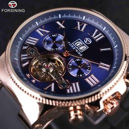 Wholesale Pvc Wrist Bands - Forsining Rose Golden Bezel Tourbillion Designer High Quality PVC Band Male Automatic Wrist Watches Mens Watch Top Brand Luxury