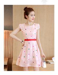 Wholesale Round Neckline Cap Sleeve Dress - 2017 new summer Korean version of the length of a long skirt in the first round of the round neckline Chiffon Dress