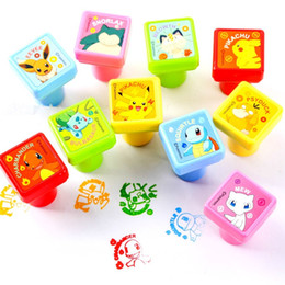 Wholesale Rubber Stamp Self Inking - New 10style Cartoon Pikaqiu Poke Seal Self-ink Rubber Stamps Kids Event Supplies Birthday gift