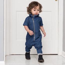 Wholesale Korean Cute Baby Boy - Everweekend Boys Zipper Denim Rompers Cute Baby Western Korean Fashion Summer Spring Cotton Clothing