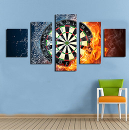 Wholesale Target Darts Wholesale - Real Fallout 5 Piece Darts Wheel Target Fire Water Home Wall Decor Picture Print On Canvas Painting Set of Each Unframed