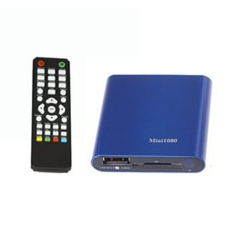 Wholesale Hdd Audio Player - Wholesale-Hot-sale Blue 1080P Mini HDD Media Player Remote Control MKV H.264 RMVB HD Power Adapter&Audio Cable With USB SD Card Reader