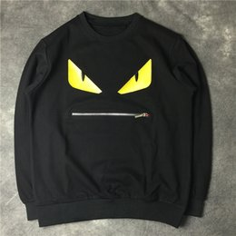 Wholesale Eye Print Sweatshirt - 2017 famous brand hoodies winter Autumn men women embroidery small monster devil eyes zipper mouth Sweatshirt mens jacket
