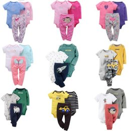 Wholesale Shorts Pants Plaid Baby Boys - 5 sets lot(can mix styles and choose sizes) Newest lovely baby romper sets 3 pcs sets baby boy romper baby girl romper 2 pcs romper+pant