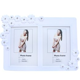 Wholesale Wholesaler Glass Photo Frames - 7 - inch double - sided photo frame wedding photography creative picture decoration suitable for European - style plum blossom diamond mosai