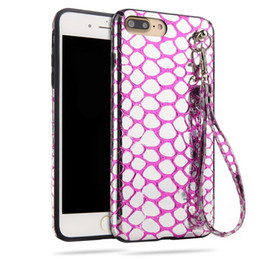 Wholesale Iphone Scales - Soft TPU Back Cover For Iphone 7 Plus Fish Scales Back Cover With Hand Strap Fashion Coque Cover For Iphone 6 6S 6Plus