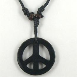 Wholesale Carved Bone Charms - Wholesale-1 Pcs Peace Necklaces Tibetan Yak Bone Carving Peace Totem Pendants Talismans Necklaces Fashion Charm Jewelry 2016 New Brand