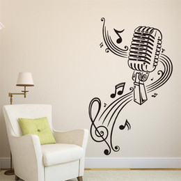 Wholesale Decals Murals Music Notes - 57x37cm Microphone with Music Notes Vinyl Wall Stickers Removable Art Mural for Home Decoration Kids' Bedroom