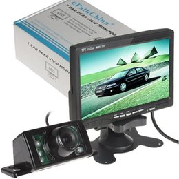 Wholesale Ir Lights Night Vision - 7 Inch TFT LCD Color Display Screen Car Rear View DVD VCR Monitor + 7 IR LED Lights Night Vision Rearview Reversing Camera