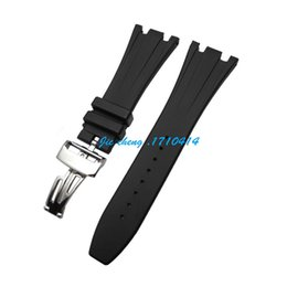 Wholesale Rubber Bracelets Free Shipping - Free Shipping 28mm new high-quality stainless steel Silver buckle black diving silicone rubber watch band strap G-AP124
