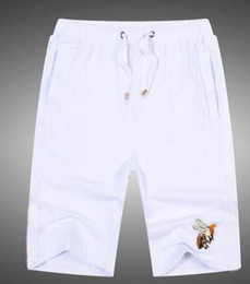 Wholesale Bee Board - Luxury Fashion Solid Bee Beach Shorts Men's Fashion Clothing Summer Leisure Cotton Board Short Pants Swimming Trunks White M-XXL