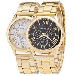 Wholesale design mens watches - Fashion wholesale luxury mens geneva stainless steel metal alloy watch fashion casual roma design dial quartz dress sport watches