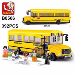 Wholesale 3d Bus Puzzle - Sluban Building Blocks 382Pcs large School Bus 3D Puzzle Model Enlighten Construction Brick For Children minifigures action figure lepin
