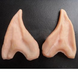 Wholesale Elf Mask - Wholesale-Latex Fairy Pixie Elf Ears Cosplay Accessories LARP Halloween Party Latex Soft Pointed Prosthetic Tips Ear Free Shipping
