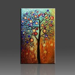 Wholesale Textured Tree Paintings - The Wishing Tree Pinturas Al Oleo Thick Textured Modern American Style 100% Handmade Abstract Canvas Oil Painting Wall Art