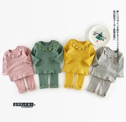Wholesale Baby Knitted Pants - Ins Baby kids 2 Pieces Set Kids girl long sleeve ruffles colalr T shirt + pant kids clothing knitted sets free ship 4 colors 1-2-3-4T