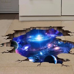 Wholesale Planets Decals - 4 style 3D Outer Space Planet Wall Stickers for kids room floor Galaxy Stickers muraux muursticker vinyl wall decals poster