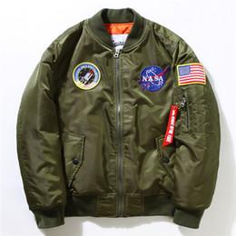 Wholesale Panel Flag - NASA Mens MA1 Bomber Jacket Insignia USAF Kanye West Hip Hop Sport Male Windbreaker Jacket Flag Mens Spring Thin section Jacket lovers