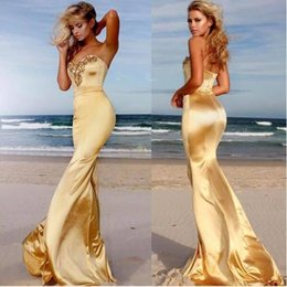 Wholesale Navy Blue Silk Robe - Sexy Backless Crystals Mermaid Evening Dresses Formal Robe de soriee Party Gowns Sweetheart Sweep Train Prom Dresses Holiday Gowns Cheap