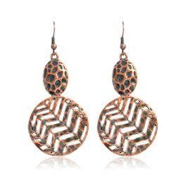Wholesale Large Crystal Drop Earrings - Hollow Large Circle Potholes Drop Earrings Ancient Bronze Punk Fashion Metal Dangle Earrings Ear Jewelry for Women