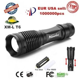 Wholesale Led Torch Tactical Usa - USA EU Hot Sel E007 CREE XM-L T6 2000Lumens 5 Mode cree led Torch Zoom LED Flashlight Torch For 3xAAA or 1x18650 Best Price Free shipping