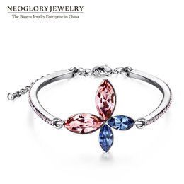 Wholesale Charms Jewelry Designer Wholesale - Jewelry Austrian Crystal Charm Bangles & Bracelets Jewelry Butterfly Flower Designer Brid Bridesmaid 2017 New Neoglory JS9 JS3