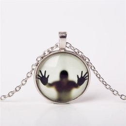Wholesale Glowing Nightlight - Wholesale- 2016 Men Shadow Style Necklace Glass Cabochon Chain Statement Pendant Necklaces Glow In The Dark Nightlight choker