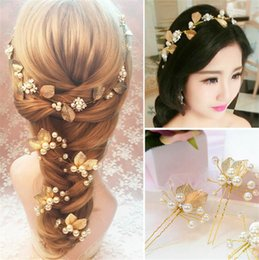 Wholesale Bridal Golden Crown - Crystal Bridal Headband Pearl Headpieces Golden Plated Leaf Pearl Hair Band Bride Hairband Earring set Golden Leaf Crown Tiaras for Women