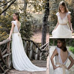 Wholesale Bow Store - Bohemian Wedding Dresses 2017 Ivory Lace Cap Sleeves Open Back Bridal Gowns Stores With Sash Garden V-neck