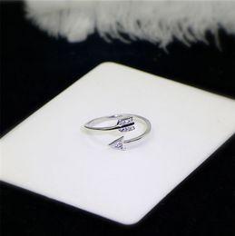 Wholesale Adjustable Tibet Silver Ring - 925 Silver Open Cupid Love Arrow Zircon Rings For Women Original Lady Finger Adjustable Wrap Ring Jewelry