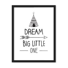 Wholesale Print Big Photos - Free shipping gift encourage dream big little one words geometric triangles arrows pattern home decorative hanging poster photo picture