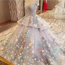 Wholesale Fairy Wedding Dress Up - Fairy Colorful Off The Shoulder Wedding Dresses 2018 Spring Summer Organza Tiered Bridal Gowns Lace Appliques Dubai Wedding Vestidos