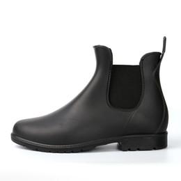 "Wholesale women s leather ankle boots - Wholesale- Kitchen Rain Boots Slip-on British Men""s Platform PVC Waterproof Motorcycle Black All-season Cooker's Martin Boots Men Shoes"
