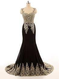 Wholesale Satin Beaded Long Formal Dress - Hot Sale 2017 Jewel Collar Black Gold Lace Applique Beaded Custom made Formal Long Evening Gowns ED003