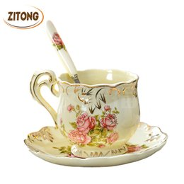 Wholesale Saucer Spoon Set - High Quality Ivory Porcelain Elegant Coffee Cups And Saucer Ceramic Mugs Luxury British Style Afternoon Tea Cup Set