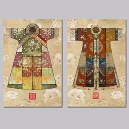 Wholesale Ancient Clothes - 2 Pcs Set No Framed Chinese Art Ancient king queen dragon clothes decoration wall art pictures Canvas Painting print living room decor