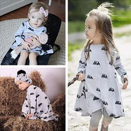 Wholesale Little Princess Baby One Piece - Baby Dress Girls Dresses Autumn Cotton Long Sleeve Princess Dress Children Cute Little Mouse Printed One-piece Dress Kids Clothing 386