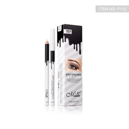 Wholesale wood pen pencil set - MENOW Brand Makeup Silky Wood Cosmetic White Eyeliner Pencil Silkworm White Highlight Pen 12pcs set Waterproof Eyeliner P112