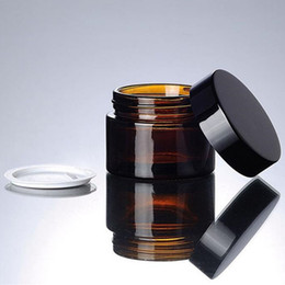 Wholesale Amber Bottles - 5g 10g 20g 30g brown amber glass cream jar with black lid cosmetic jar packing for sample eye cream bottle F201749