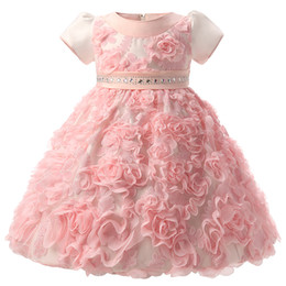 Wholesale Kids Frocks For Girls - Wholesale- Flowers Baby Frock Designs Newborn Baby Girl Baptism Gown Tutu First Birthday Dress For Infant Kids Party Formal Dress Clothing