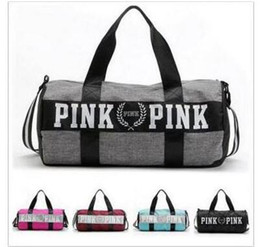 Wholesale Man Shoulder Bag Free Shipping - Handbags Women Pink Letter Large Capacity Travel Duffle Striped Waterproof Beach Bag Shoulder Bag Famous Brand Bags Free Shipping